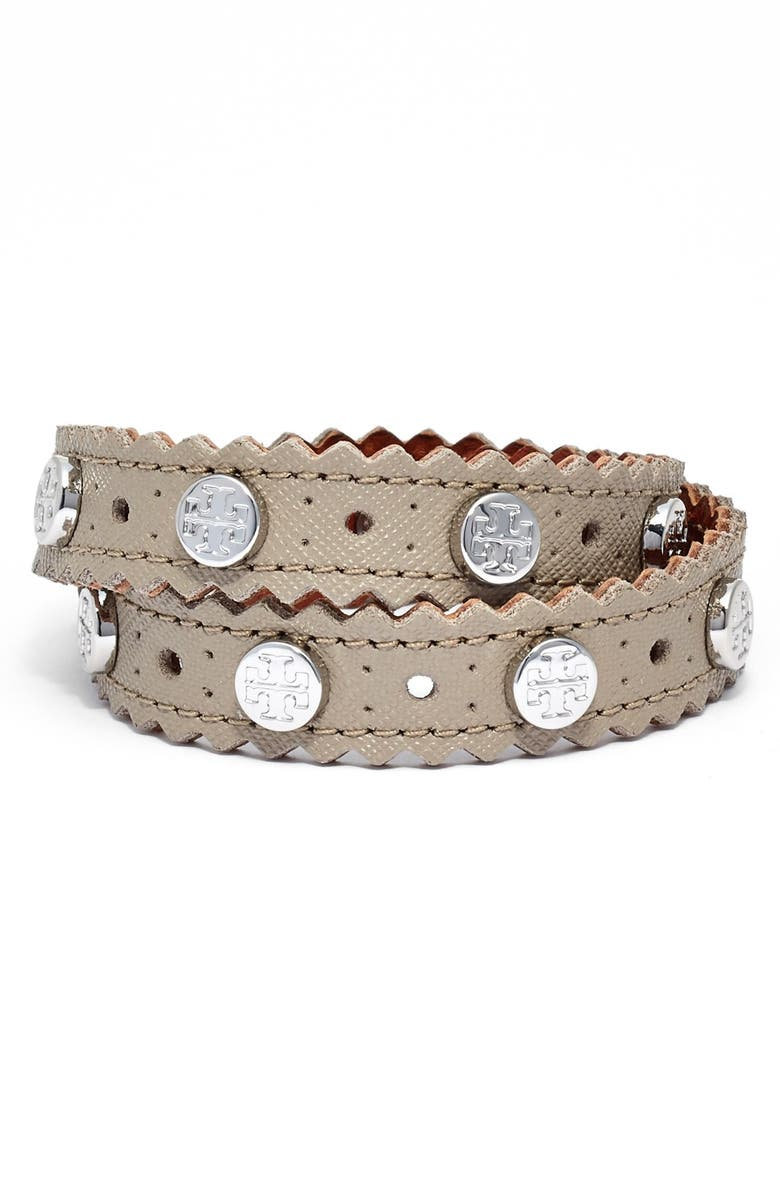 TORY BURCH Perforated Leather Wrap Bracelet, Main, color, 020