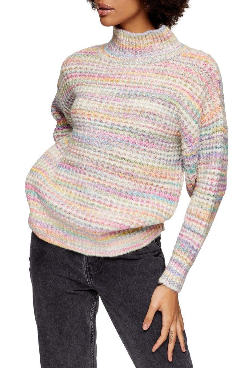 TOPSHOP Space Dye Chunky Turtleneck Sweater, Main, color, BLUE MULTI