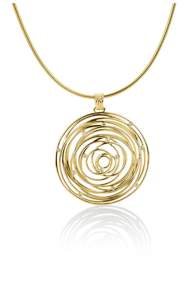 BREUNING 14K Yellow Gold Scattered Diamond Round Pendant Necklace - 0.17 ctw, Main, color, YELLOW
