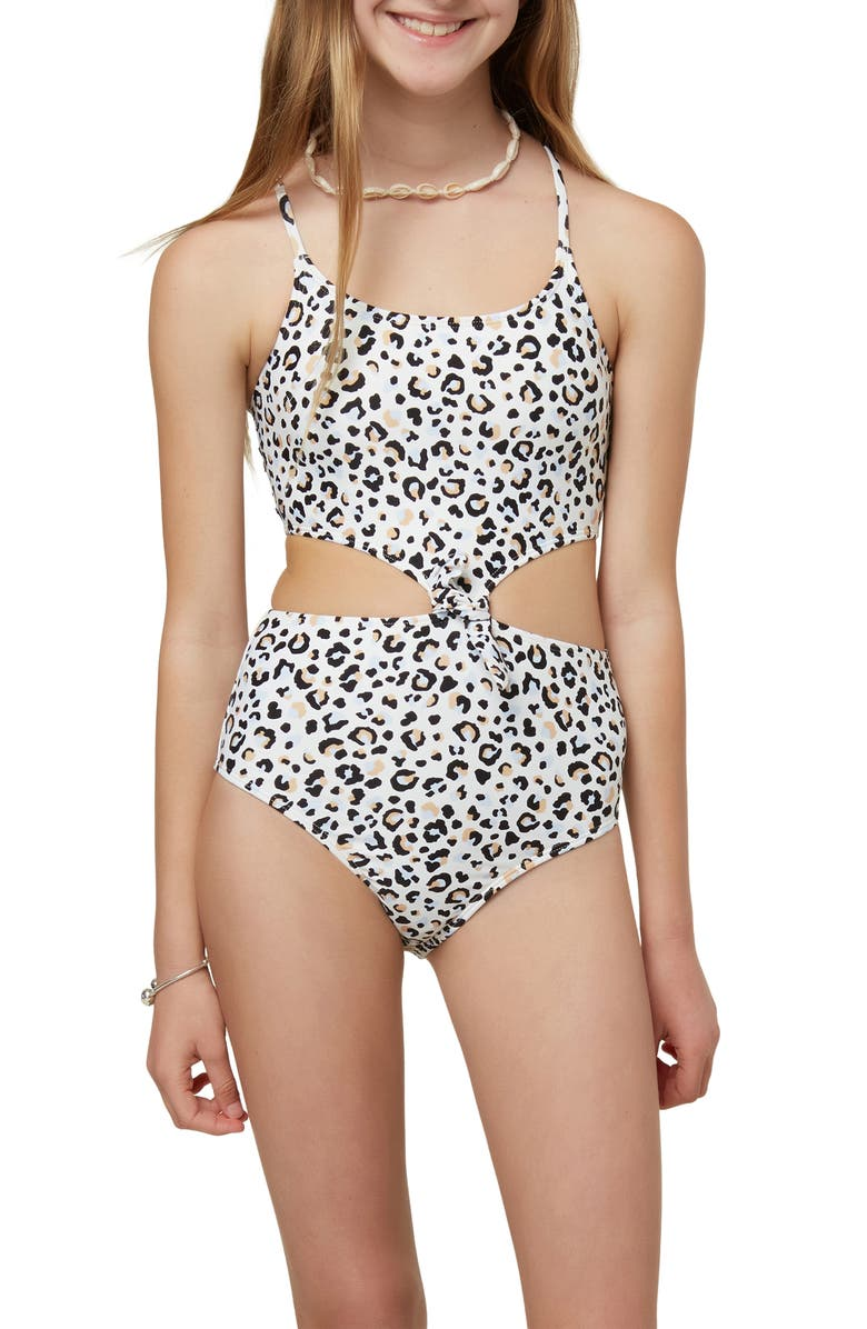 O'NEILL Kids' Leopard Print Knot One-Piece Swimsuit, Main, color, 121