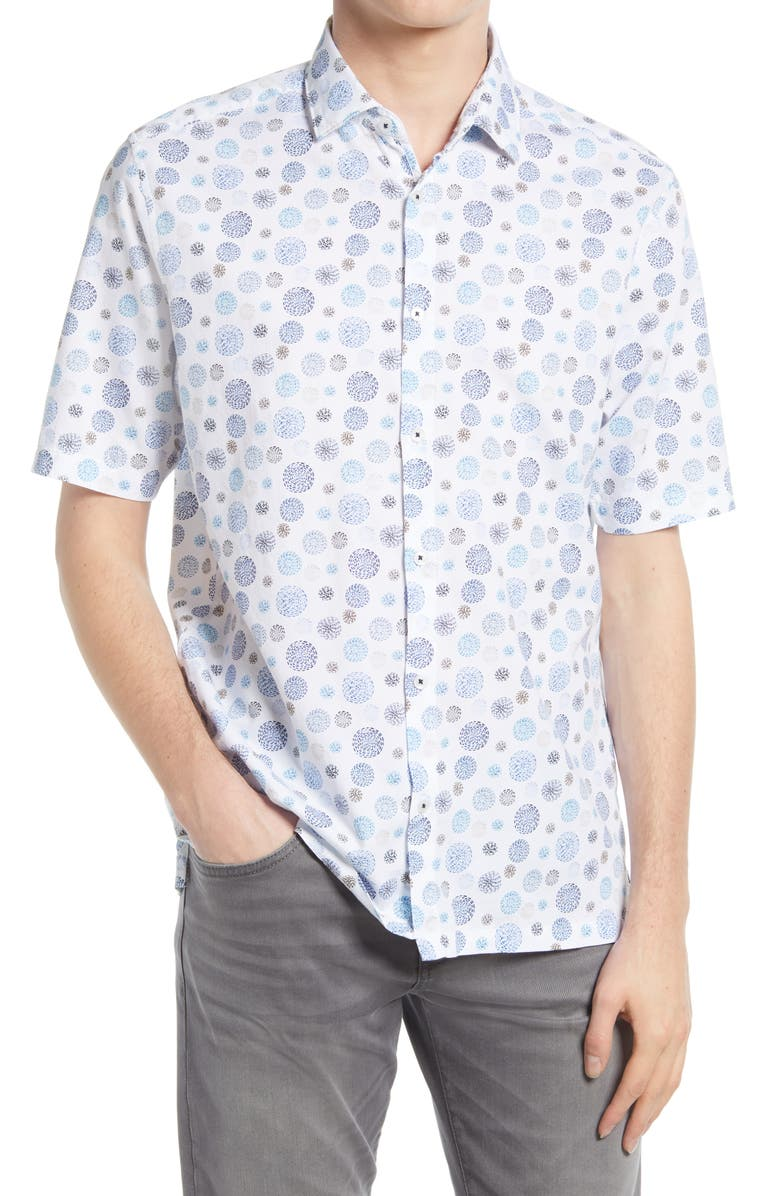 GOOD MAN BRAND On Point Slim Fit Short Sleeve Button-Up Shirt, Main, color, WHITE MEDALLION