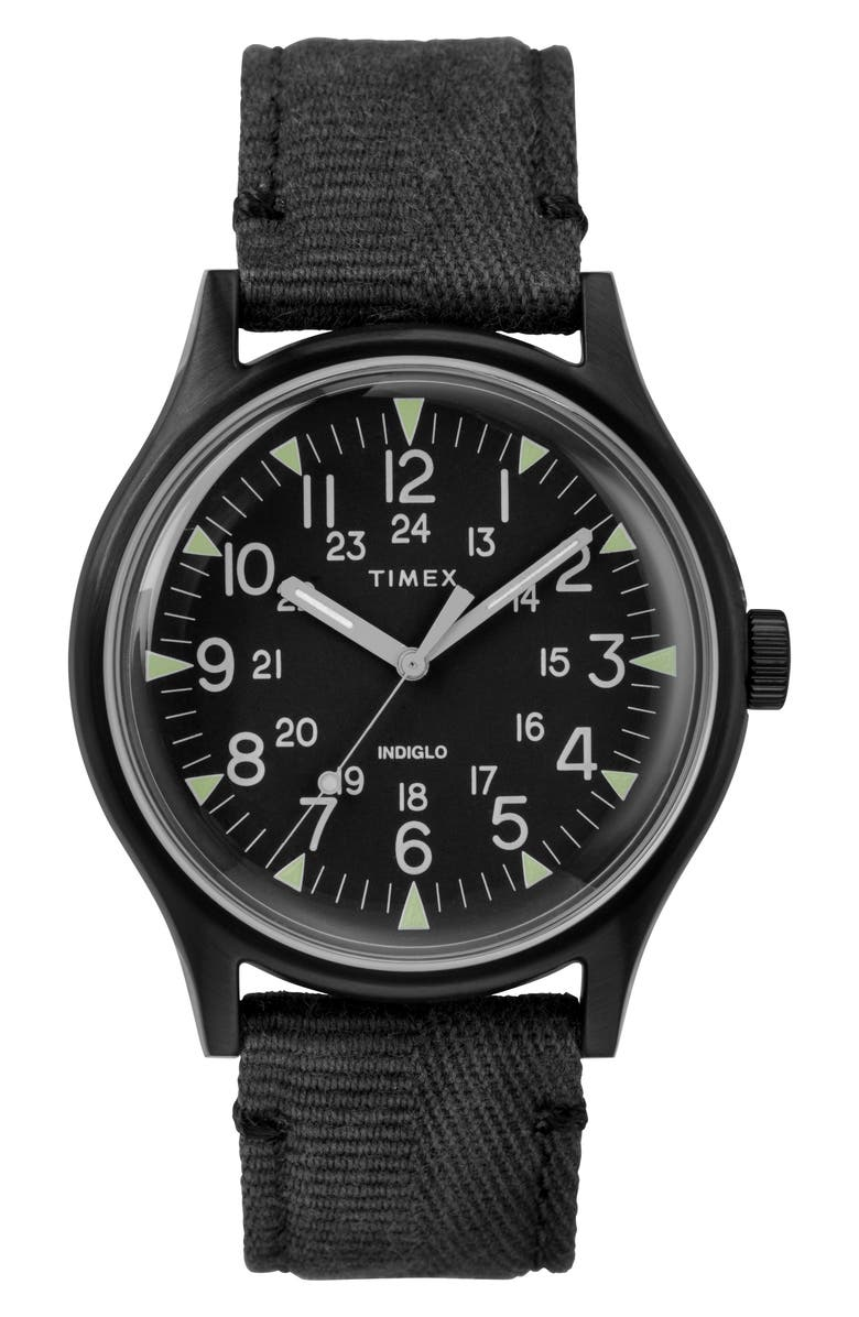 TIMEX<SUP>®</SUP> MK1 Canvas Strap Watch, Main, color, 001