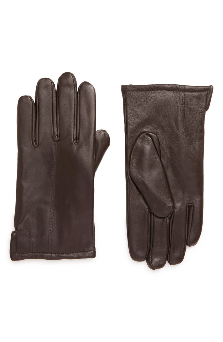NORDSTROM Leather Gloves, Main, color, CONKER