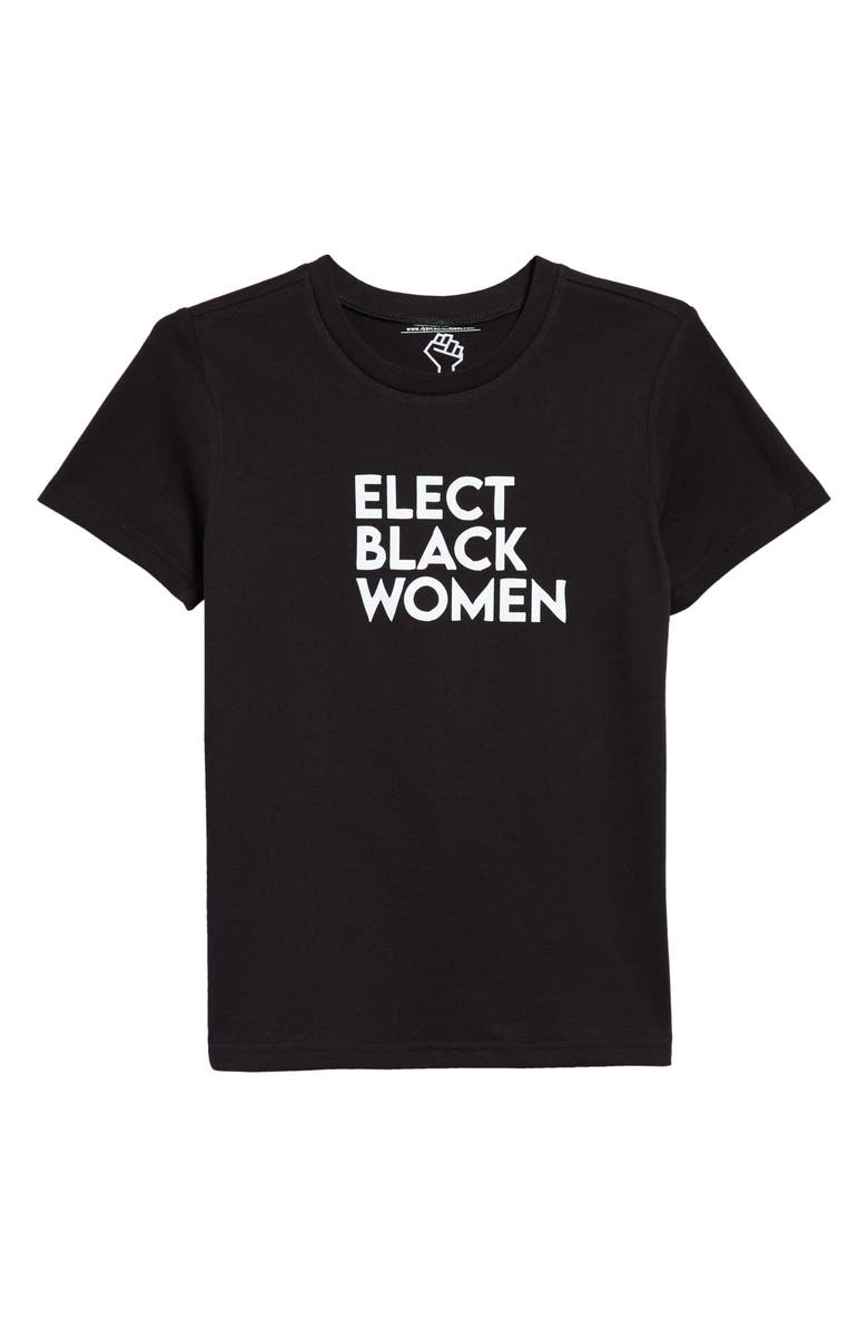 TYPICAL BLACK TEES Kids' Elect Black Women Graphic Tee, Main, color, BLACK