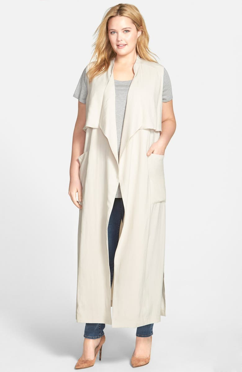 SEJOUR Open Front Sleeveless Trench Coat, Main, color, 250