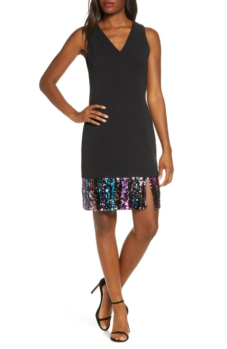 VINCE CAMUTO Sequin Hem Sleeveless A-Line Cocktail Dress, Main, color, 001