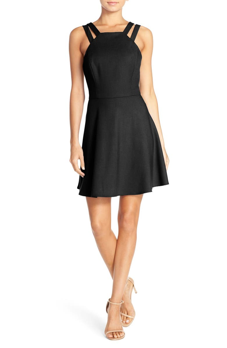 FRENCH CONNECTION Whisper Light Fit & Flare Dress, Main, color, 001