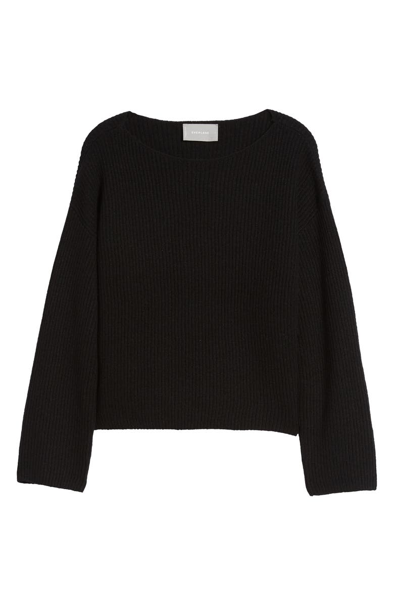 EVERLANE The Cashmere Rib Boatneck Sweater, Main, color, 001