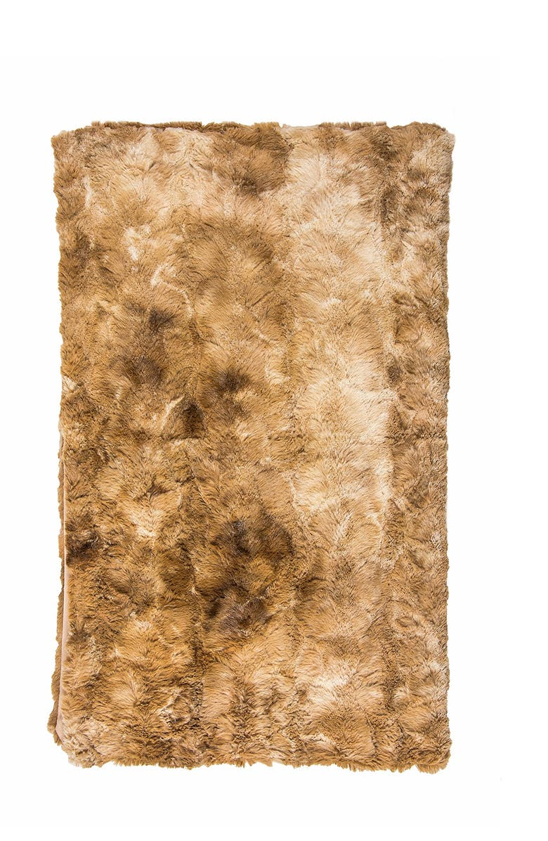 """LUXE Naples Taupe Faux Fur Throw - 50"""" x 60"""", Main, color, TAUPE"""