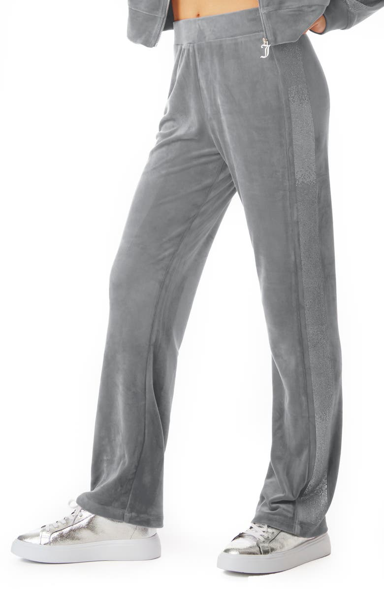 JUICY COUTURE Anniversary Velour Track Pants, Main, color, SILVER ICE