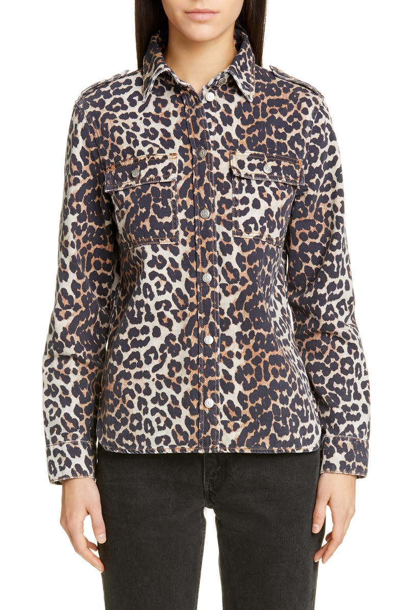 GANNI Leopard Print Denim Jacket, Main, color, 200