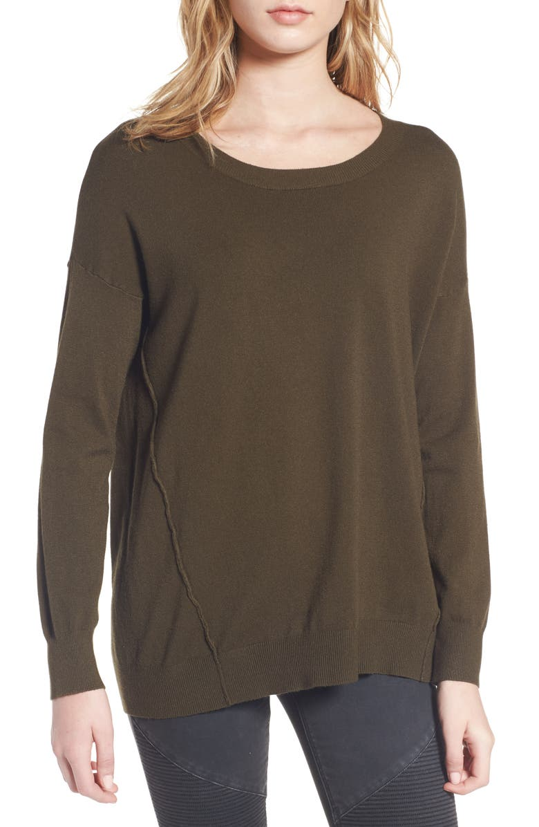 DREAMERS BY DEBUT Forward Seam Tunic Sweater, Main, color, OLIVE