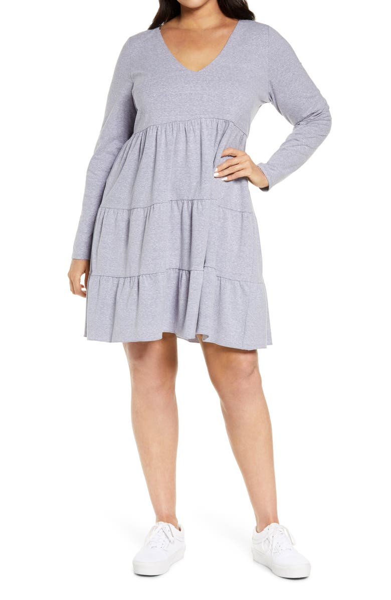 BP. Tiered Long Sleeve Knit Dress, Main, color, BLUE FOREVER