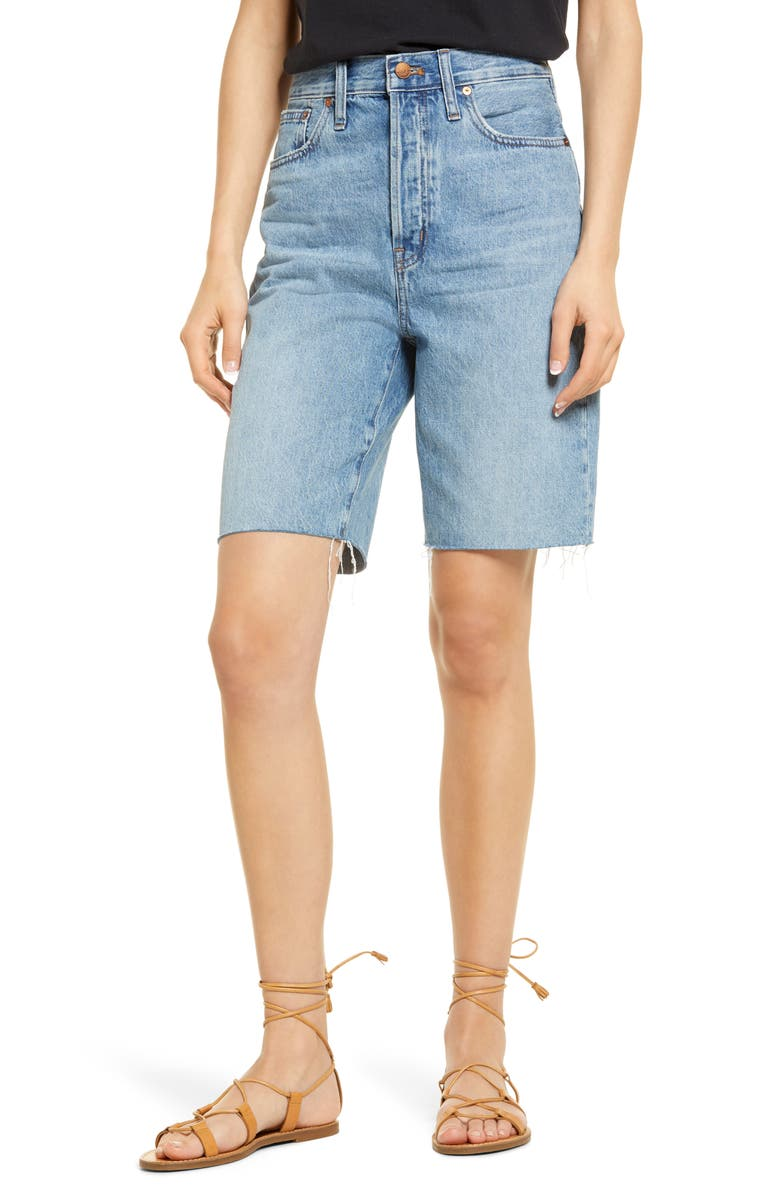 MADEWELL High Waist Long Denim Shorts, Main, color, BRIGHTWATER