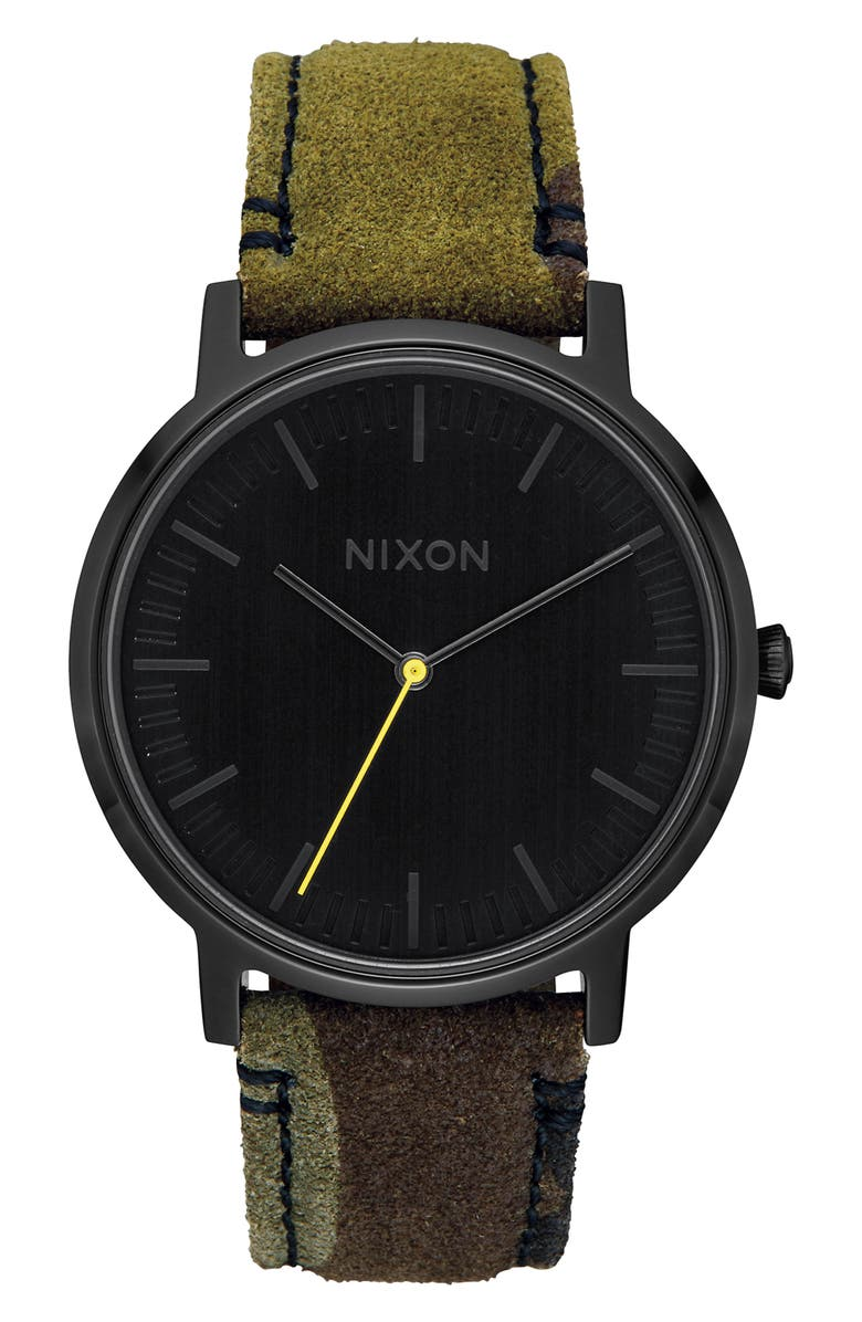 NIXON Porter Round Leather Strap Watch, 40mm, Main, color, 003