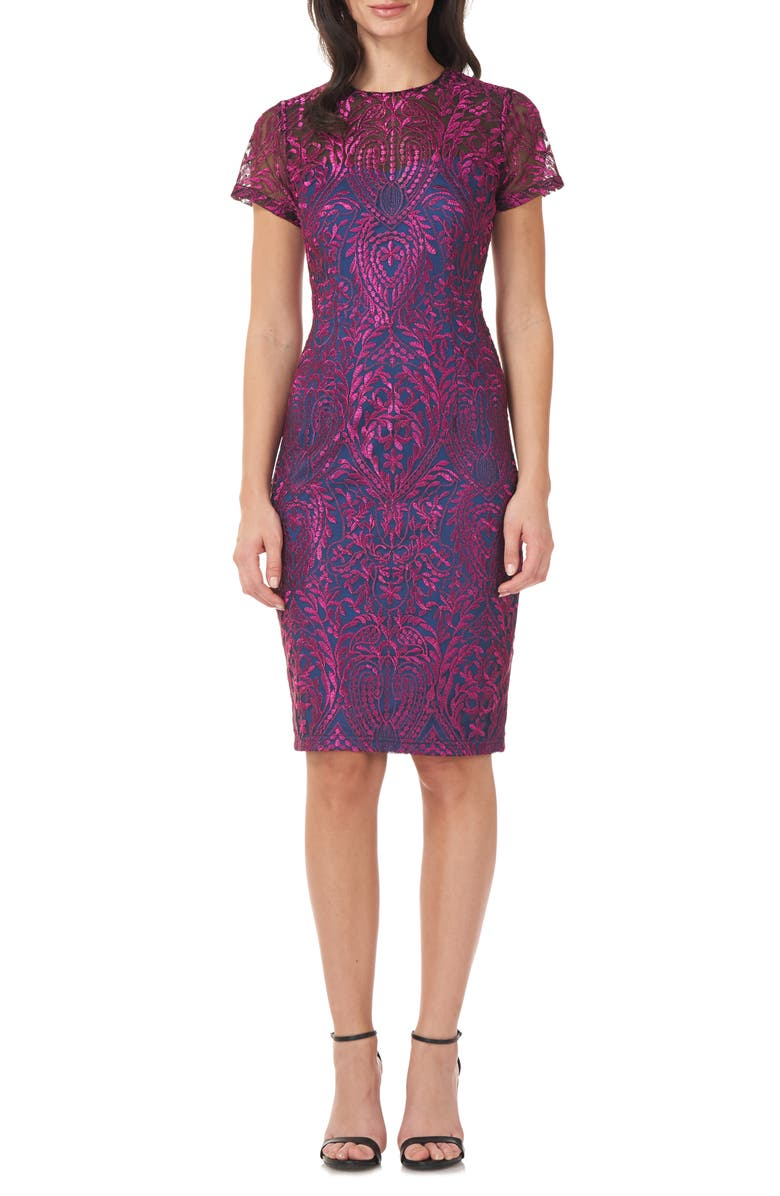JS COLLECTIONS Soutache Embroidery Sheath Cocktail Dress, Main, color, FUCHSIA/ NAVY