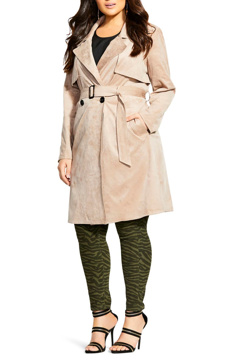 CITY CHIC Faux Suede Trench Coat, Main, color, 250