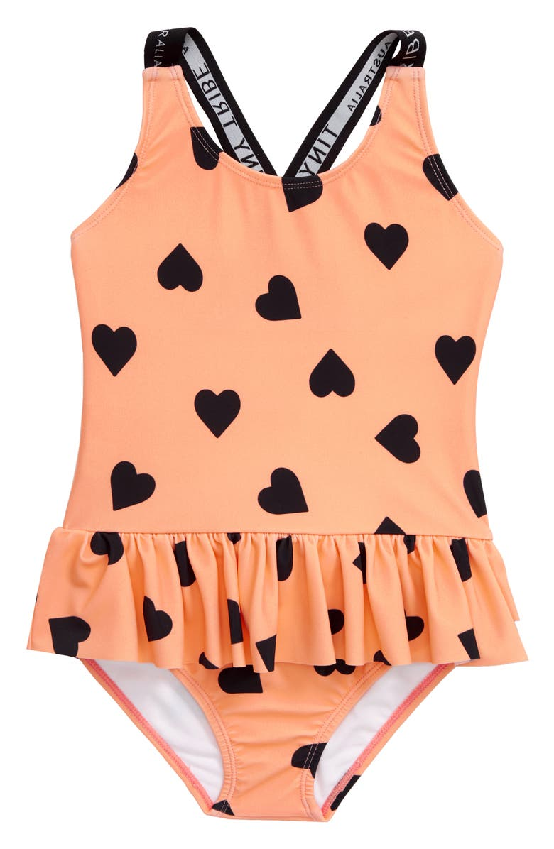 TINY TRIBE Heart Frill Skirted One-Piece Swimsuit, Main, color, 800