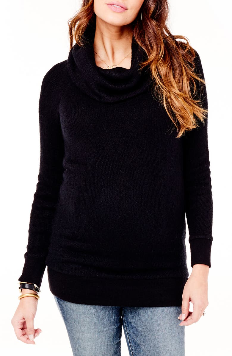 INGRID & ISABEL<SUP>®</SUP> Cowl Neck Maternity Sweater, Main, color, JET BLACK