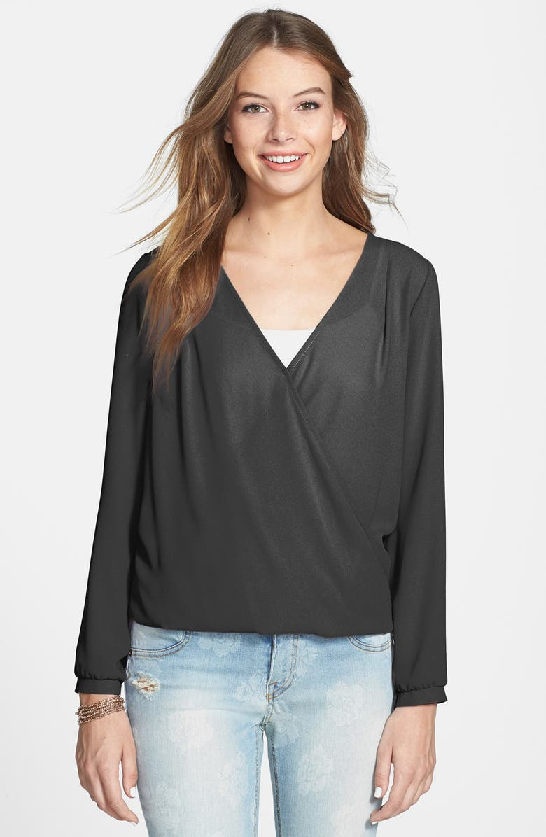 ALL IN FAVOR Cross Front Shirt, Main, color, BLACK