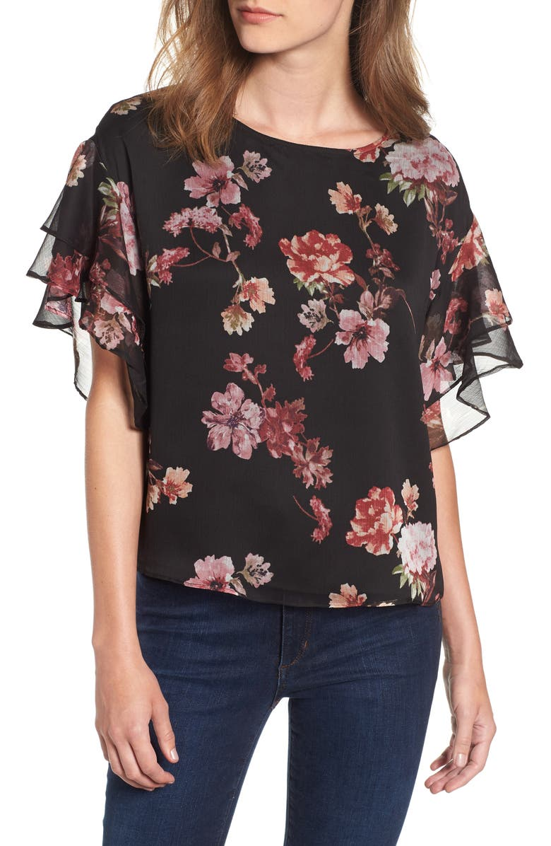 VINCE CAMUTO Tiered Ruffle Sleeve Garden Floral Top, Main, color, RICH BLACK