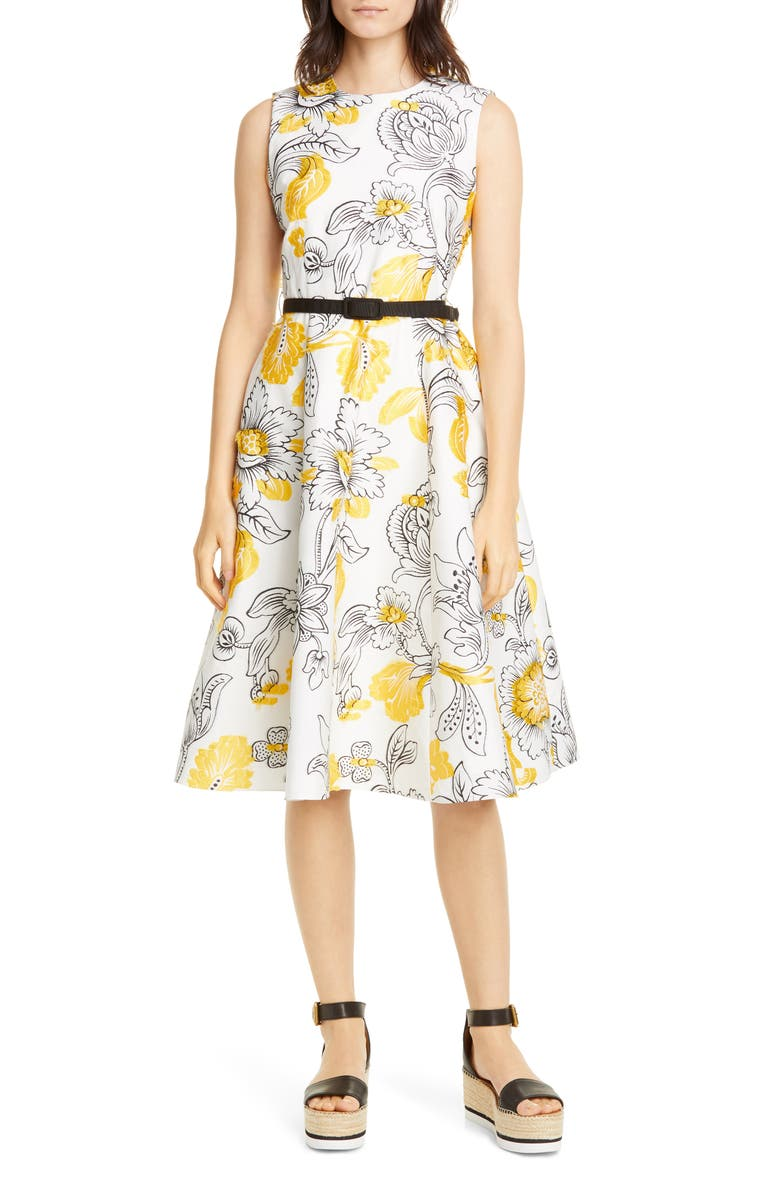 ERDEM Floral Embroidered Fil Coupé Fit & Flare Dress, Main, color, 100
