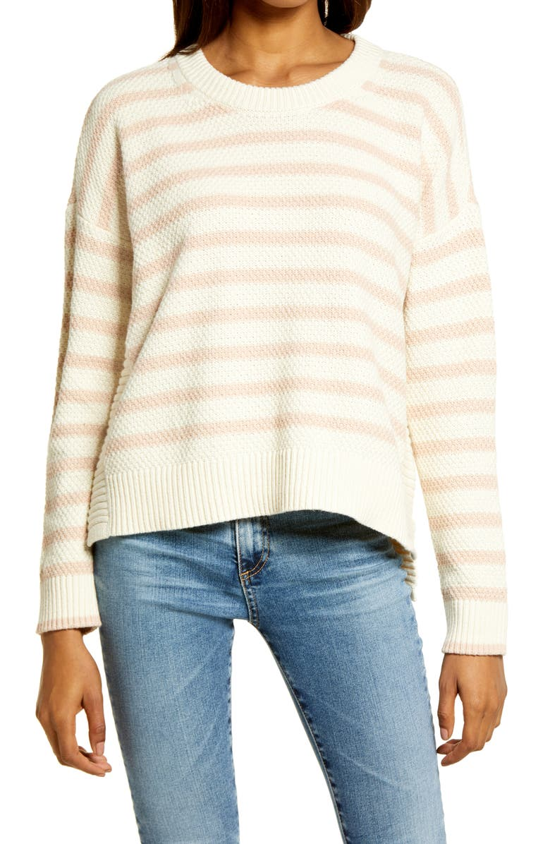 MADEWELL Stripe Pickford Pullover Sweater, Main, color, ANTIQUE CREAM