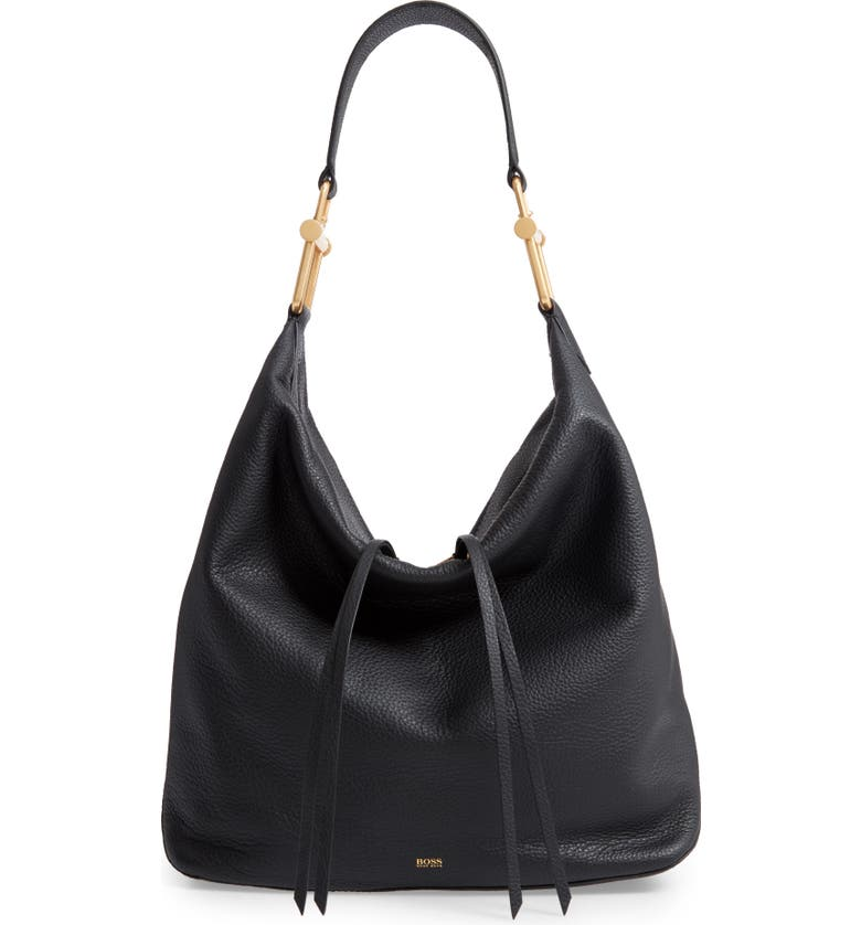 BOSS Christy Leather Hobo, Main, color, 001
