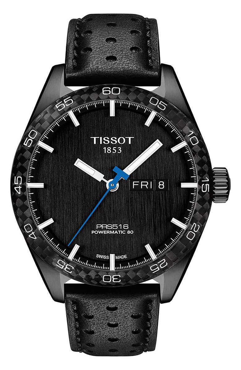 TISSOT PRS 516 Leather Powermatic Leather Strap Watch, 42mm, Main, color, BLACK