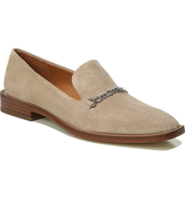 FRANCO SARTO SARTO by Franco Sarto Basha Chain Square Toe Loafer, Main, color, PUTTY SAND SUEDE