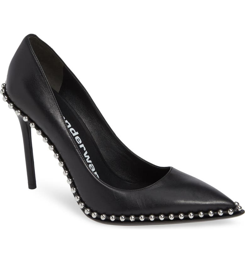 ALEXANDER WANG Rie Stud Pointy Toe Pump, Main, color, 001