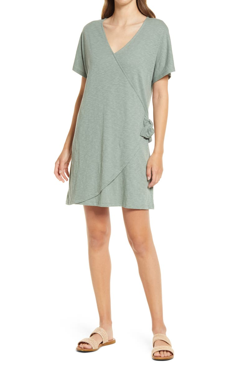 CASLON<SUP>®</SUP> Easy Side Tie Dress, Main, color, GREEN DUNE
