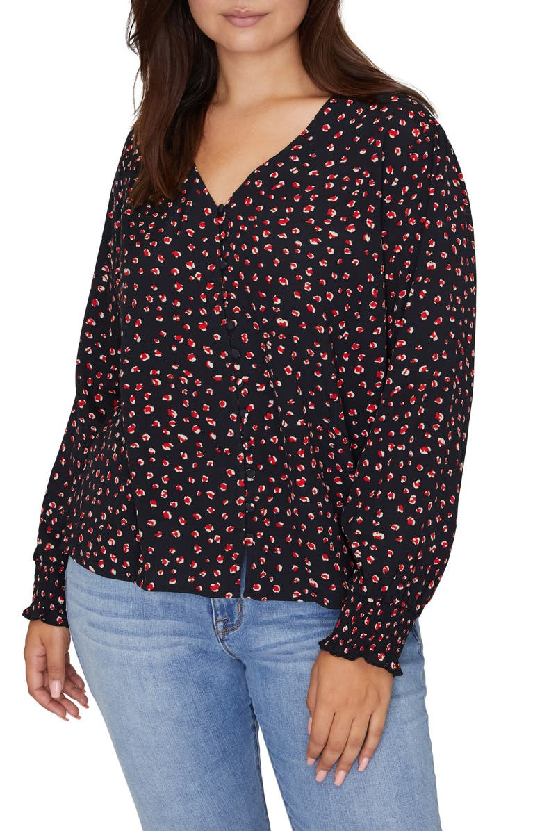 SANCTUARY Noelle Print Smocked Cuff Blouse, Main, color, 001