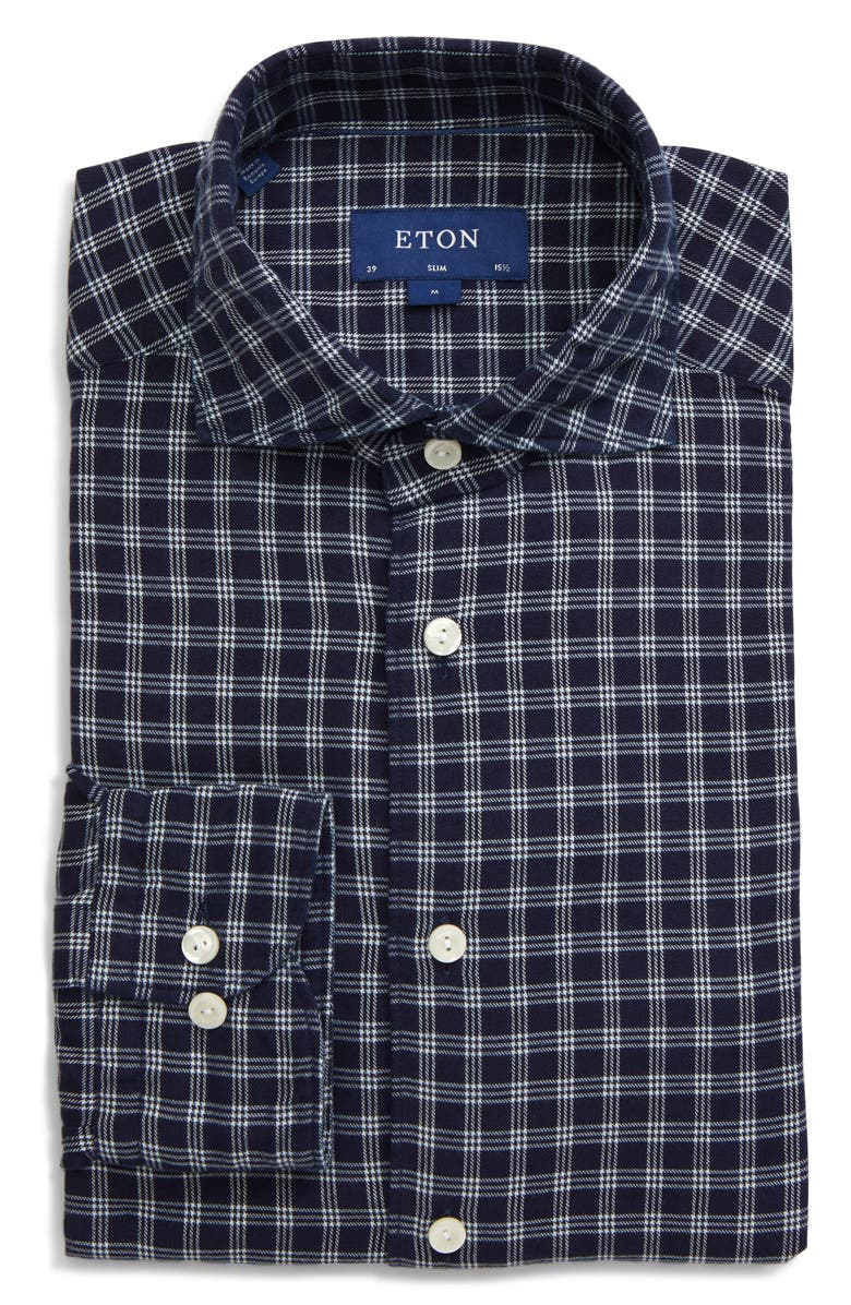 ETON Soft Casual Line Slim Fit Check Button-Up Shirt, Main, color, 400