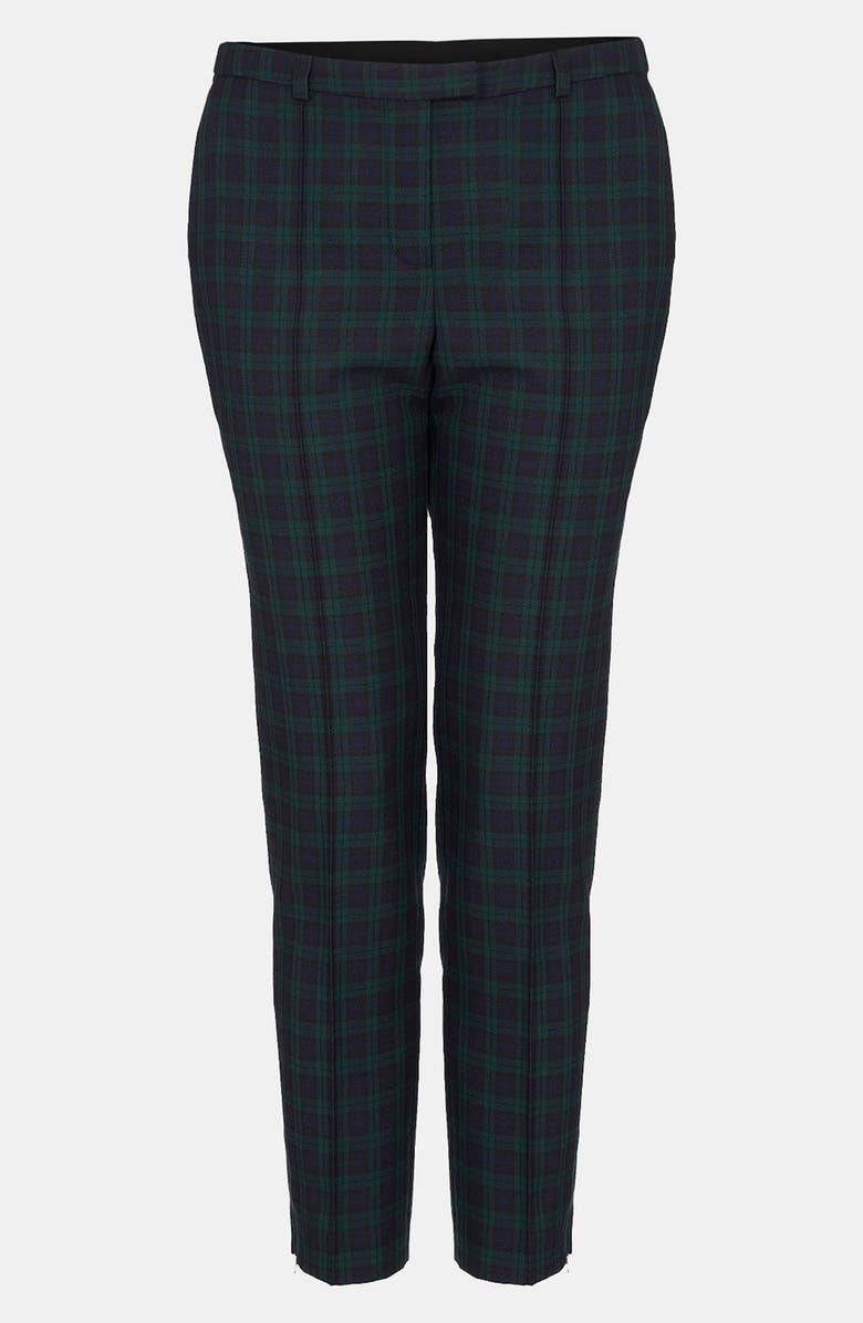 TOPSHOP 'Mini Black Watch' Tartan Cigarette Pants, Main, color, 301
