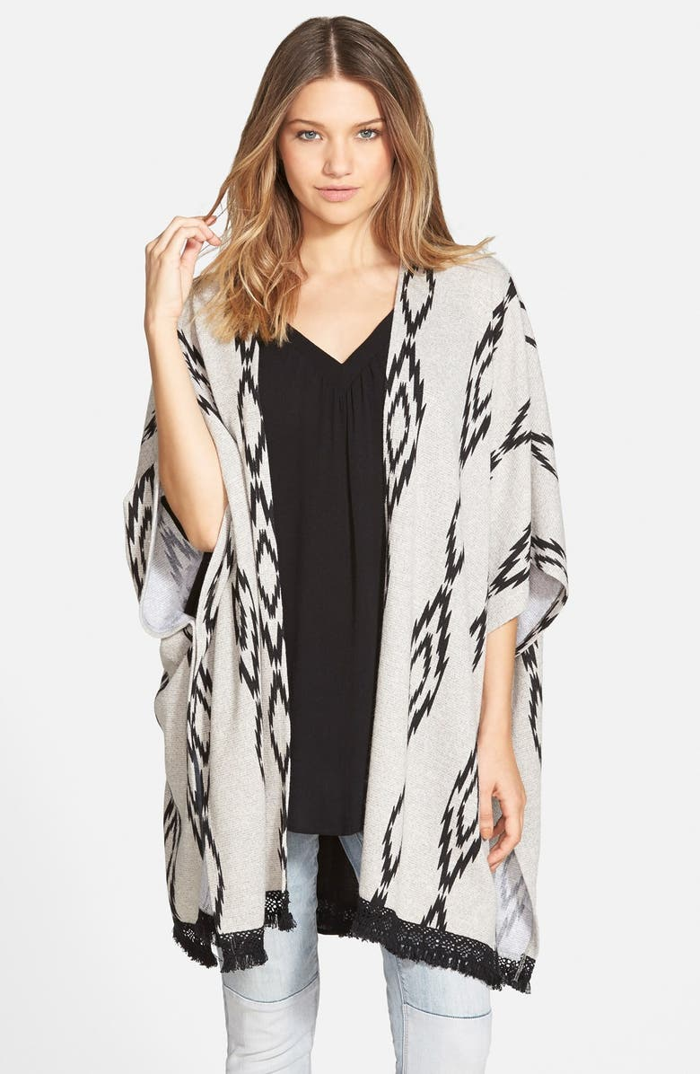 PAINTED THREADS Print Fringe Trim Poncho, Main, color, 020