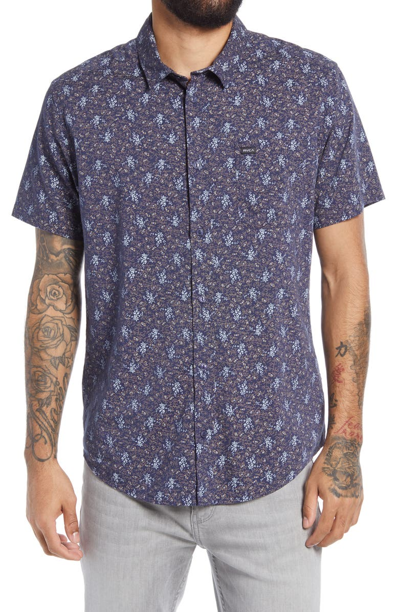 RVCA Monkberry Floral Print Short Sleeve Button-Up Shirt, Main, color, MOODY BLUE