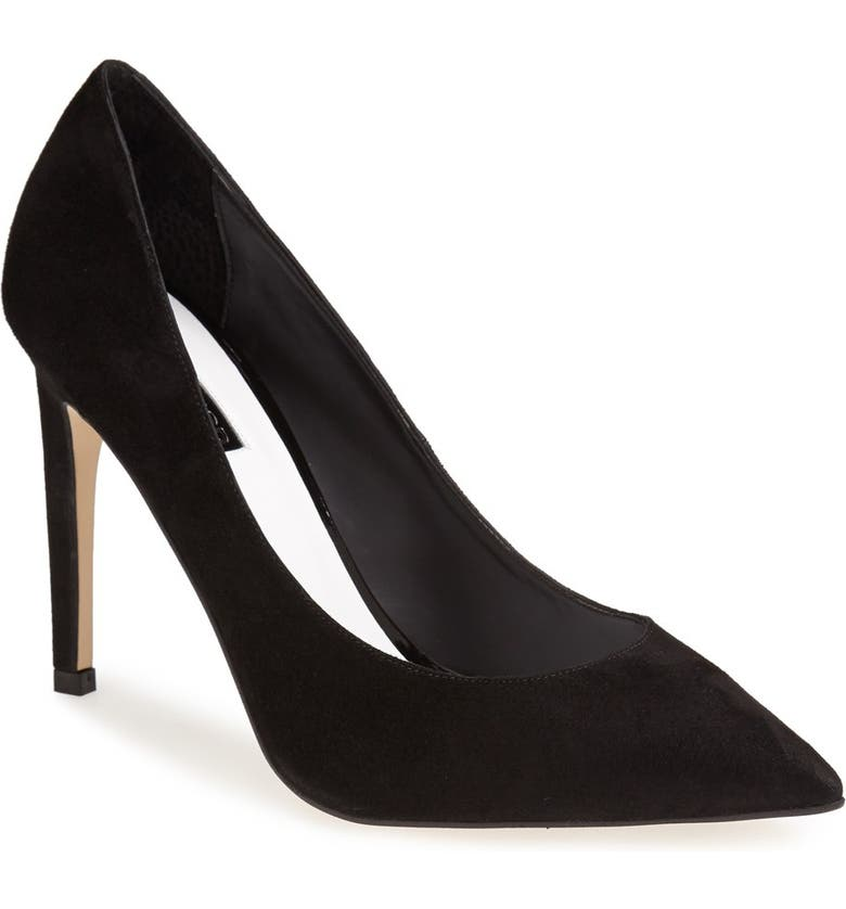 TOPSHOP 'Glory' Pointy Toe Suede Pump, Main, color, 001