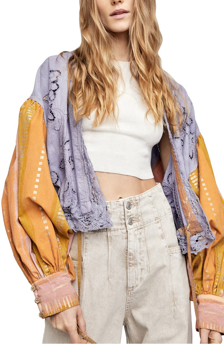 FREE PEOPLE Lover's Lane Embroidered Jacket, Main, color, SUNRISE COMBO