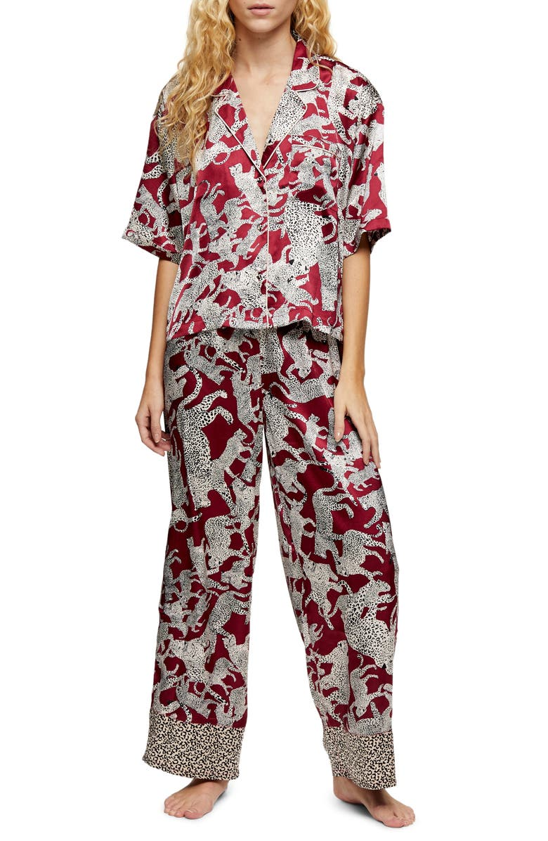 TOPSHOP Leopard Print Satin Pajamas, Main, color, 930