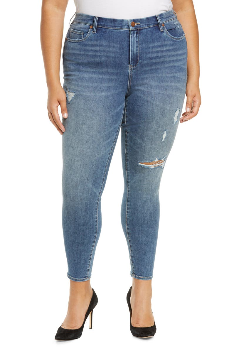 BLANKNYC Monday Blues Ripped Skinny Jeans, Main, color, BLUE