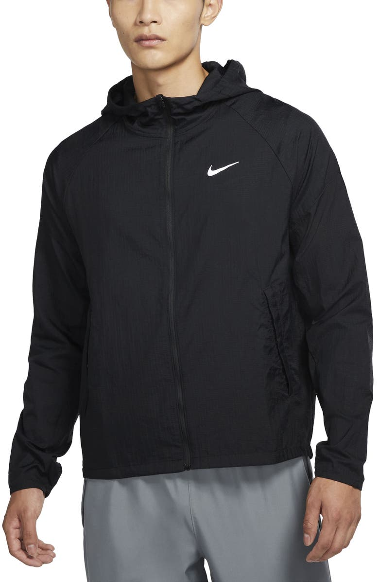 NIKE Essential Water Repellent Nylon Running Jacket, Main, color, BLACK/ REFLECTIVE SILVER