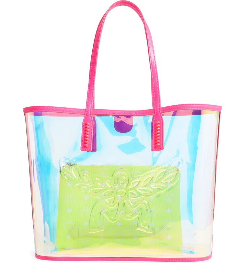 MCM Medium Flo Transparent Holographic Shopper, Main, color, 650