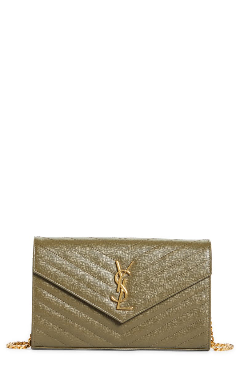 SAINT LAURENT Large Monogramme Quilted Leather Wallet on a Chain, Main, color, VERT KAKI