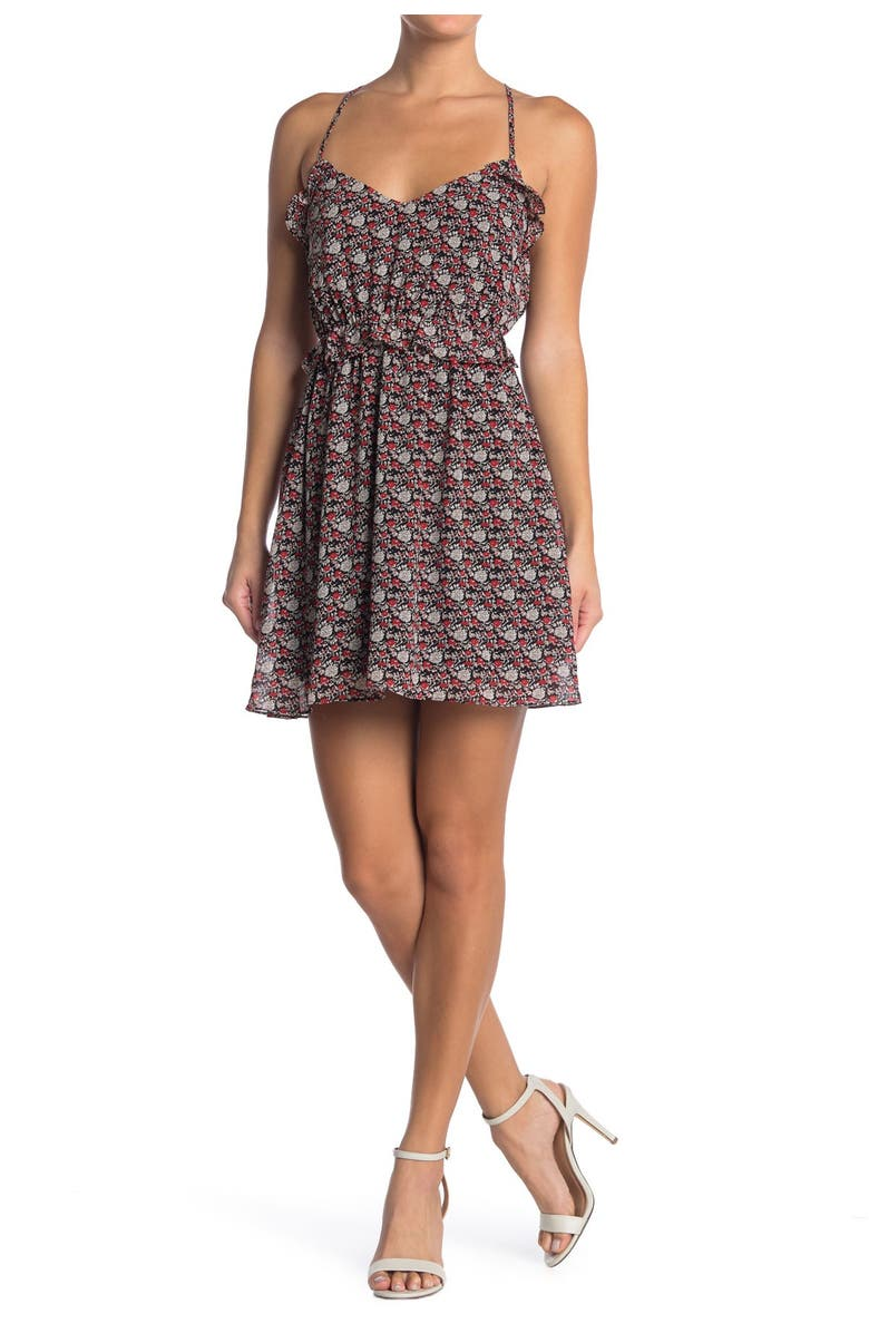 ALL IN FAVOR Ruffle Mini Dress, Main, color, FLORAL PRINT