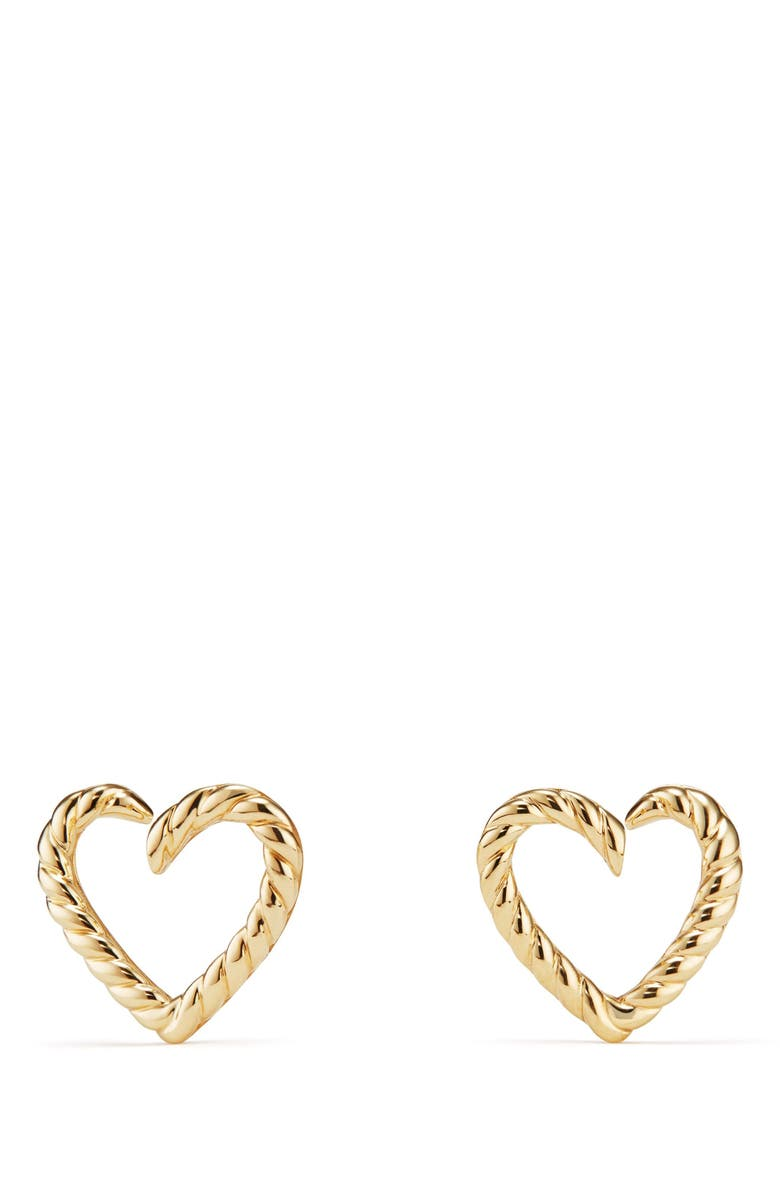 DAVID YURMAN Cable Heart Earring in 18K Gold, Main, color, GOLD