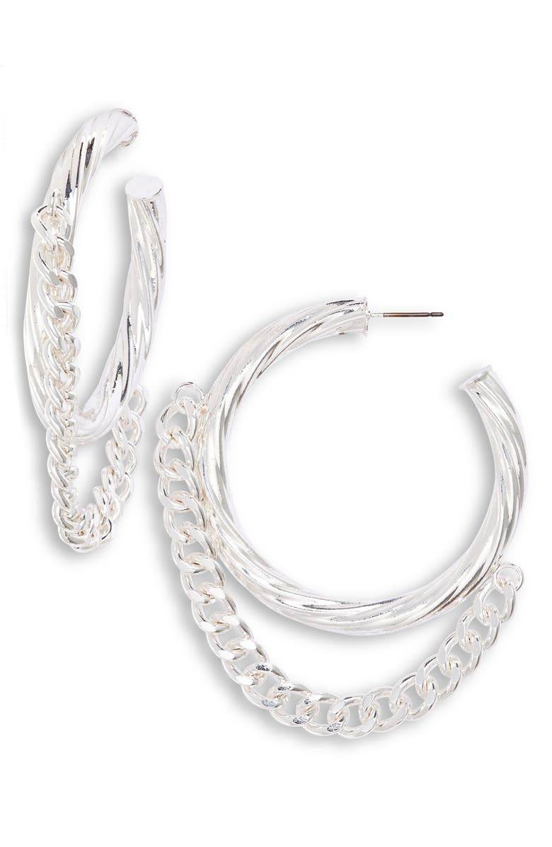 8 OTHER REASONS x Draya Michele Double or Nothing Hoop Earrings, Main, color, SILVER