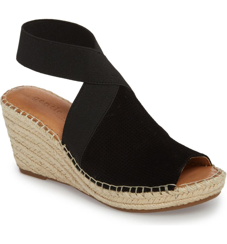 GENTLE SOULS BY KENNETH COLE Gentle Souls Signature Colleen Espadrille Wedge, Main, color, BLACK SUEDE