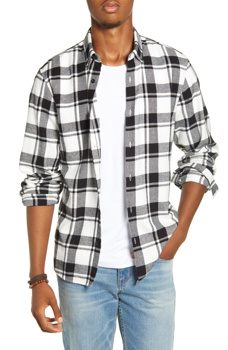 BP. x Alex Costa Plaid Button-Down Flannel Shirt, Main, color, 100