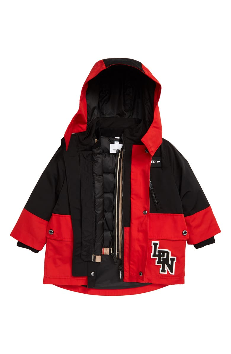 BURBERRY Kids' Two-Tone 2-in-1 Hooded Coat with Down Jacket, Main, color, RACING RED